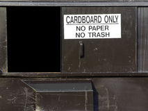 Recycle Bin. A used and worn recycle container for cardboard Royalty Free Stock Photo