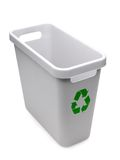 Recycle bin. Empty gray plastic recycle bin with green recycle logo over white background stock photography