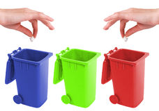 Recycle bin. In four colors- red,green,blue and yellow Stock Photography