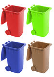 Recycle bin. In four colors- red,green,blue and yellow Stock Photos