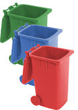 Recycle bin. In three colors- red,green,blue Royalty Free Stock Images