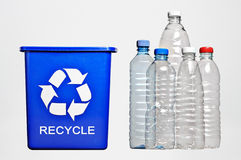 Recycle bin and bottles Stock Photos