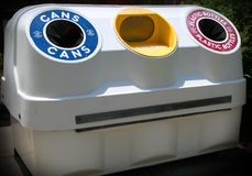 Recycle bin. For cans, newspaper, and plastic bottles royalty free stock photography