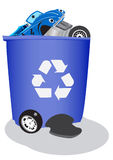 Recycle bin for cars. Fun vector illustration of a large recycle bin filled with cars and car parts Royalty Free Stock Image