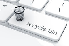 Recycle bin concept. Computer keyboard white button with trash can. Recycle bin concept.  3d rendering Royalty Free Stock Photo