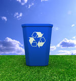 Recycle bin concept  3d illustration. Blue coloured single recycle bin 3d illustration Royalty Free Stock Photo