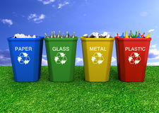 Recycle bin  3d illustration. Multi coloured recycle bins on the grass 3d illustration Royalty Free Stock Photo