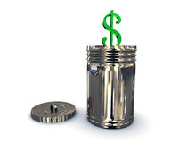 Recycle bin with dollar Royalty Free Stock Photos