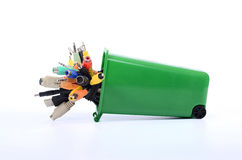 Recycle Bin filled with electronic waste Royalty Free Stock Images