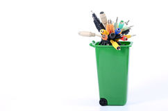 Recycle Bin filled with electronic waste Stock Image