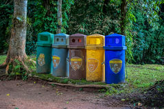 Recycle bin. In the forest Royalty Free Stock Images