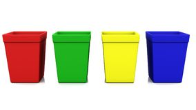 Recycle bin four color 3d rendering. Recycle bin four color on white background 3d rendering Stock Photo