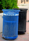 Recycle bin and garbage can at beach Royalty Free Stock Photo