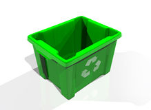 Recycle bin green. Recycle bin in solid white background royalty free illustration