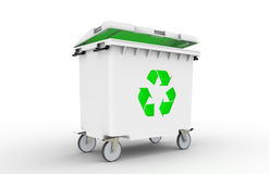 Recycle Bin with green light Royalty Free Stock Images