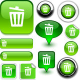 Recycle bin green signs. Recycle bin  glossy icons Stock Images