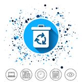 Recycle bin icon. Reuse or reduce symbol. Button on circles background. Recycle bin icon. Reuse or reduce symbol. Calendar line icon. And more line signs Royalty Free Stock Photos