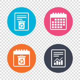 Recycle bin icon. Reuse or reduce symbol. Report document, calendar icons. Recycle bin icon. Reuse or reduce symbol. Transparent background. Vector stock illustration