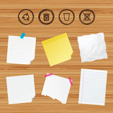 Recycle bin icons. Reuse or reduce symbol. Business paper banners with notes. Recycle bin icons. Reuse or reduce symbols. Trash can and recycling signs. Sticky Stock Photo