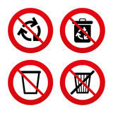 Recycle bin icons. Reuse or reduce symbol. No, Ban or Stop signs. Recycle bin icons. Reuse or reduce symbols. Trash can and recycling signs. Prohibition Stock Photography