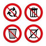 Recycle bin icons. Reuse or reduce symbol. No, Ban or Stop signs. Recycle bin icons. Reuse or reduce symbols. Trash can and recycling signs. Prohibition Royalty Free Stock Image