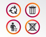 Recycle bin icons. Reuse or reduce symbol. Recycle bin icons. Reuse or reduce symbols. Human throw in trash can. Recycling signs. Infographic design buttons Royalty Free Stock Photography