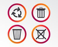 Recycle bin icons. Reuse or reduce symbol. Recycle bin icons. Reuse or reduce symbols. Trash can and recycling signs. Infographic design buttons. Circle Royalty Free Stock Images