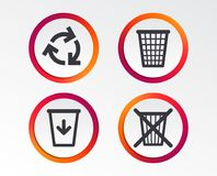 Recycle bin icons. Reuse or reduce symbol. Recycle bin icons. Reuse or reduce symbols. Trash can and recycling signs. Infographic design buttons. Circle Royalty Free Stock Photography