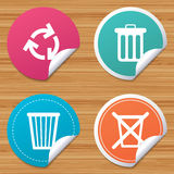Recycle bin icons. Reuse or reduce symbol. Round stickers or website banners. Recycle bin icons. Reuse or reduce symbols. Trash can and recycling signs. Circle Stock Image