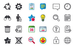 Recycle bin icons. Reuse or reduce symbol. Recycle bin icons. Reuse or reduce symbols. Human throw in trash can. Recycling signs. Chat, Report and Calendar Royalty Free Stock Photography