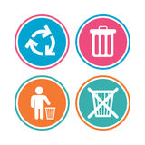 Recycle bin icons. Reuse or reduce symbol. Stock Photo