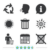 Recycle bin icons. Reuse or reduce symbol. Recycle bin icons. Reuse or reduce symbols. Human throw in trash can. Recycling signs. Information, go to web and Royalty Free Stock Image