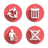 Recycle bin icons. Reuse or reduce symbol Royalty Free Stock Photography