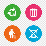 Recycle bin icons. Reuse or reduce symbol. Recycle bin icons. Reuse or reduce symbols. Human throw in trash can. Recycling signs. Round buttons on transparent Stock Photo