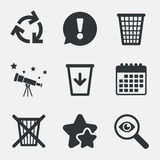Recycle bin icons. Reuse or reduce symbol. Recycle bin icons. Reuse or reduce symbols. Trash can and recycling signs. Attention, investigate and stars icons Stock Photos