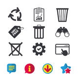Recycle bin icons. Reuse or reduce symbol. Recycle bin icons. Reuse or reduce symbols. Trash can and recycling signs. Browser window, Report and Service signs Stock Photos