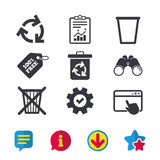 Recycle bin icons. Reuse or reduce symbol. Recycle bin icons. Reuse or reduce symbols. Trash can and recycling signs. Browser window, Report and Service signs Royalty Free Stock Photography