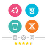 Recycle bin icons. Reuse or reduce symbol. Recycle bin icons. Reuse or reduce symbols. Trash can and recycling signs. Calendar, cogwheel and report linear icons Royalty Free Stock Image
