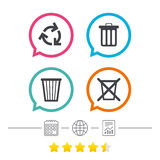 Recycle bin icons. Reuse or reduce symbol. Recycle bin icons. Reuse or reduce symbols. Trash can and recycling signs. Calendar, internet globe and report linear Stock Photos
