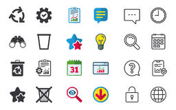 Recycle bin icons. Reuse or reduce symbol. Recycle bin icons. Reuse or reduce symbols. Trash can and recycling signs. Chat, Report and Calendar signs. Stars Royalty Free Stock Photos