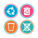 Recycle bin icons. Reuse or reduce symbol. Stock Photos