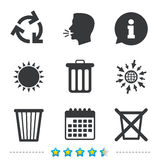 Recycle bin icons. Reuse or reduce symbol. Recycle bin icons. Reuse or reduce symbols. Trash can and recycling signs. Information, go to web and calendar icons Stock Photos