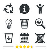Recycle bin icons. Reuse or reduce symbol. Recycle bin icons. Reuse or reduce symbols. Trash can and recycling signs. Information, light bulb and calendar icons Stock Image
