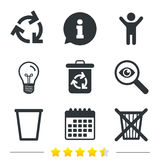 Recycle bin icons. Reuse or reduce symbol. Recycle bin icons. Reuse or reduce symbols. Trash can and recycling signs. Information, light bulb and calendar icons Stock Photos
