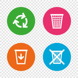 Recycle bin icons. Reuse or reduce symbol. Royalty Free Stock Images