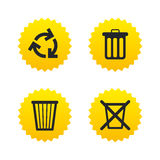 Recycle bin icons. Reuse or reduce symbol. Recycle bin icons. Reuse or reduce symbols. Trash can and recycling signs. Yellow stars labels with flat icons Royalty Free Stock Photo
