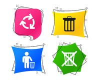 Recycle bin icons. Reuse or reduce symbol. Vector. Recycle bin icons. Reuse or reduce symbols. Human throw in trash can. Recycling signs. Geometric colorful tags vector illustration