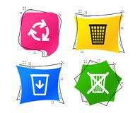 Recycle bin icons. Reuse or reduce symbol. Vector. Recycle bin icons. Reuse or reduce symbols. Trash can and recycling signs. Geometric colorful tags. Banners royalty free illustration