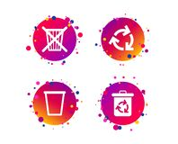 Recycle bin icons. Reuse or reduce symbol. Vector. Recycle bin icons. Reuse or reduce symbols. Trash can and recycling signs. Gradient circle buttons with icons stock illustration