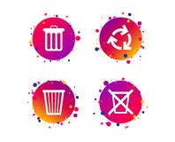 Recycle bin icons. Reuse or reduce symbol. Vector. Recycle bin icons. Reuse or reduce symbols. Trash can and recycling signs. Gradient circle buttons with icons vector illustration